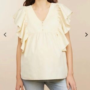 Motherhood Yellow Ruffle Flutter Sleeve Top Medium